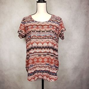 Japna red black blue geometric print top size Lg